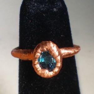 TVD Blue Topaz Copper Electroform Ring SZ 4